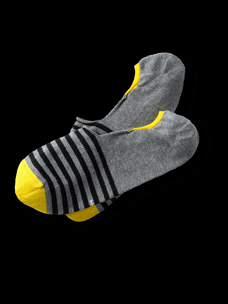 Invisible Socks in Grau: Gestreift mit gelber Spitze