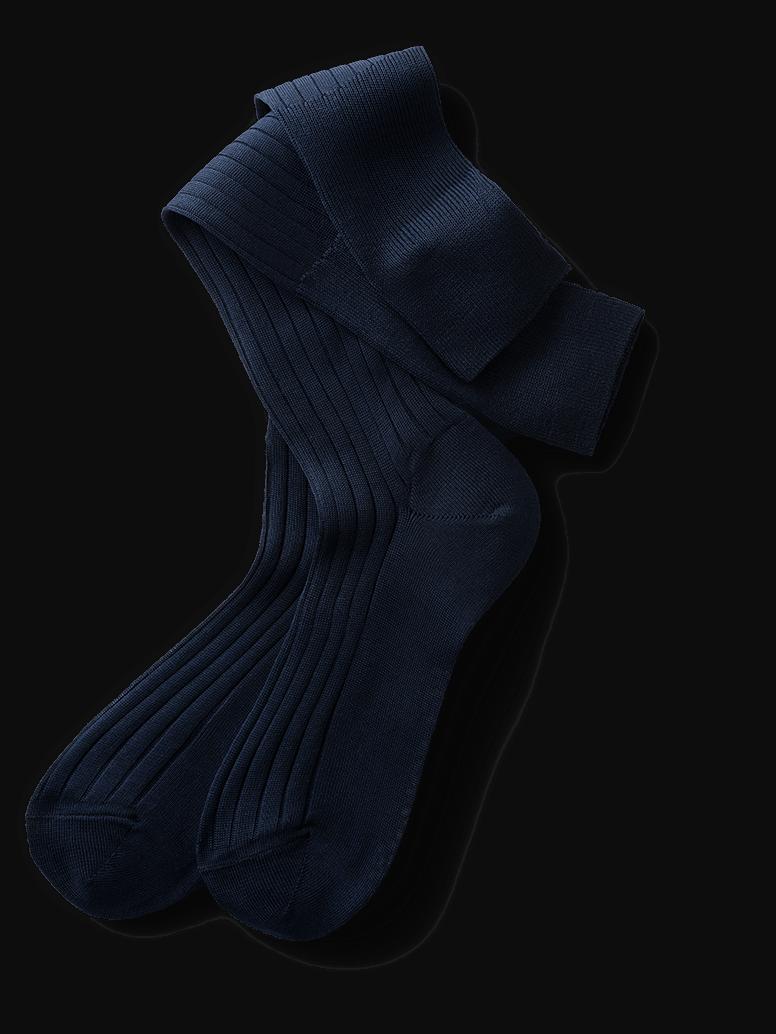 7a9eaee49 Knee High Socks in Navy  Elegant from Foot to Knee