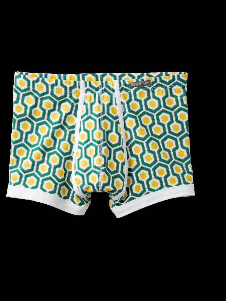 Image of Boxer Delphine mit grünem Hexagon: ein echter Hingucker