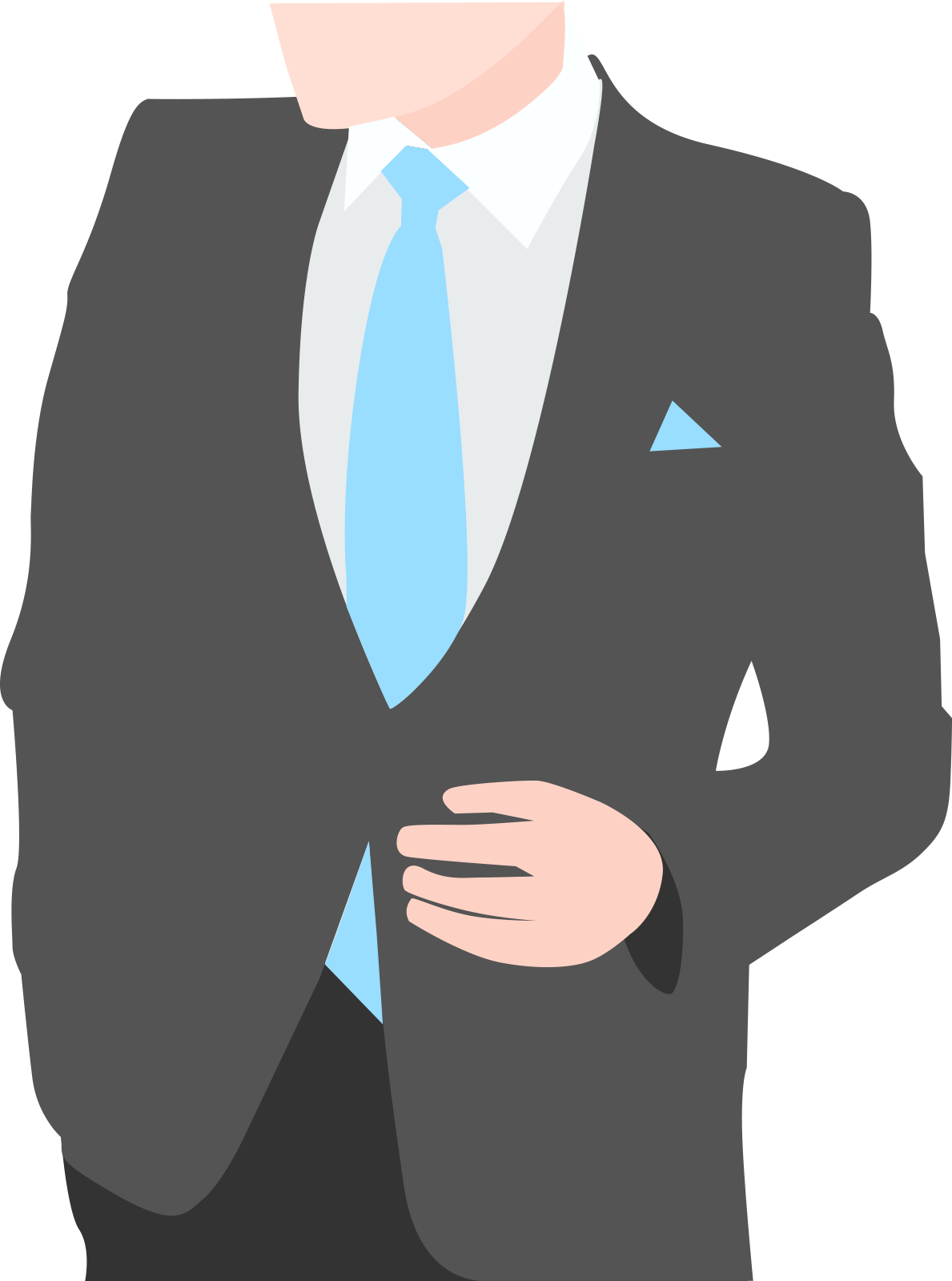 Business attire with a breast pocket handkerchief